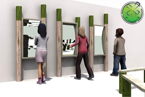 Beautiful arrangement of 3 distorting mirrors on thick wooden posts; Outdoor installation.