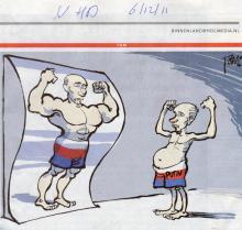 Cartoon met lachspiegel