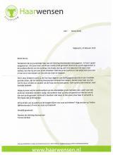 Bedankbrief van st. Haarwensen aan Senna!