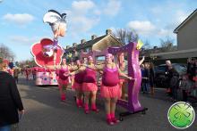 De loopgroep van Carnavalsvereniging Geval Apart uit Zwaag met onze lachspiegels.